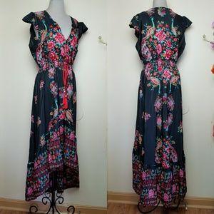 Dresses & Skirts - Boho Peacock Floral Black Red Paradise Midi Dress